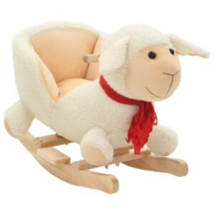 Pood24 kiikhobu seljatoega, lammas, plüüs, 60 x 32 x 50 cm valge
