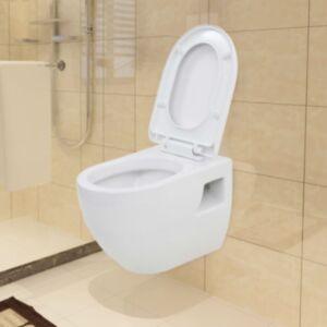 Pood24 seinale kinnitatav valge keraamiline tualettpott