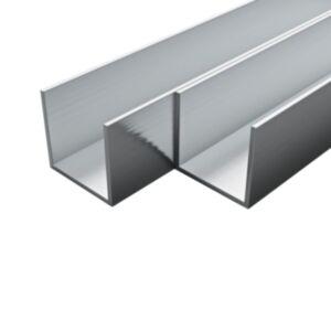 Pood24 4 tk alumiiniumist karprauad U-profiil 2 m 10 x 10 x 2 mm
