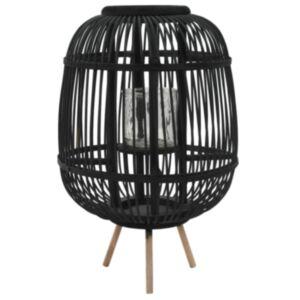 Pood24 eraldiseisev küünlalatern, bambus, must