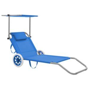 Pood24 kokkupandav lamamistool katuse ja ratastega, teras, sinine