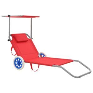 Pood24 kokkupandav lamamistool katuse ja ratastega, teras, punane