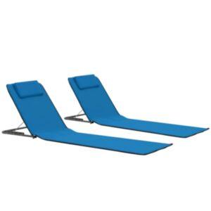 Pood24 kokkupandavad rannamatid 2 tk teras ja kangas, sinine