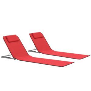 Pood24 kokkupandavad rannamatid 2 tk teras ja kangas, punane