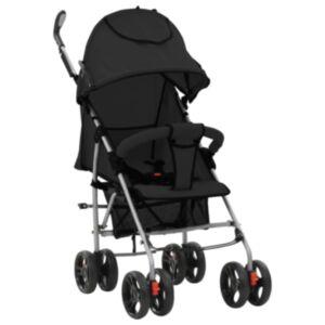 Pood24 kaks ühes kokkupandav lapsevanker/jalutuskäru, must, teras
