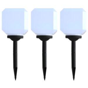 Pood24 päikesepatareiga aiavalgustid, 3 tk, LED, kuubik, 20 cm valge