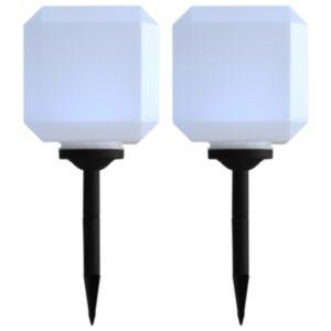 Pood24 päikesepatareiga aiavalgustid, 2 tk, LED, kuubik, 20 cm valge