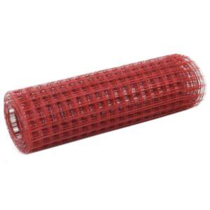 Pood24 terasest aiavõrk PVC-kattega 25 x 0,5 m, ruudukujuline, punane