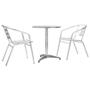 Pood24 3-osaline bistrookomplekt, ümmargune laud, hõbedane, alumiinium