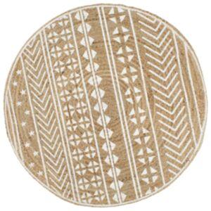 Pood24 käsitsi valmistatud džuutvaip valge mustriga, 150 cm