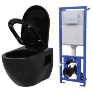 Pood24 seinale kinnituv WC-pott peidetud loputuskastiga, must