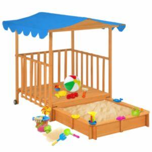 Pood24 laste mängumaja liivakastiga, nulupuit, sinine, UV 50
