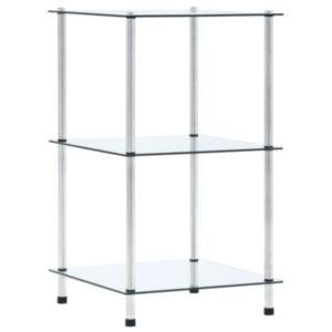 Pood24 3-korruseline riiul, läbipaistev 40x40x67 cm, karastatud klaas