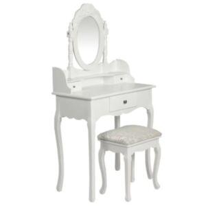 Pood24 peegli ja pingiga tualettlaud, valge