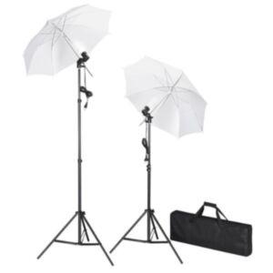 Stuudio komplekt: 2 valgustit, 2 peegeldavat vihmavarju, 2 statiivi