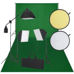 Stuudio komplekt: roheline taust, 3 päevavalguslampi, reflektorid