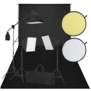 Stuudio komplekt: must taust, 3 päevavalguslampi, reflektorid