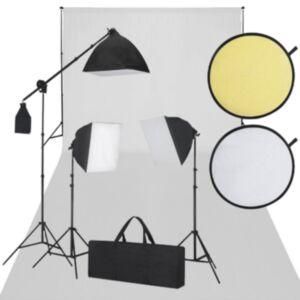 Stuudio komplekt: valge taust, 3 päevavalguslampi, reflektorid