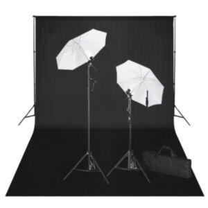 Pood24 stuudiokomplekt: must taust 600 x 300 cm ja valgustid