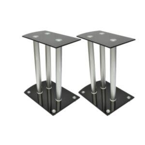Alumiiniumist ja klaasist kõlarite alus 2 tk must