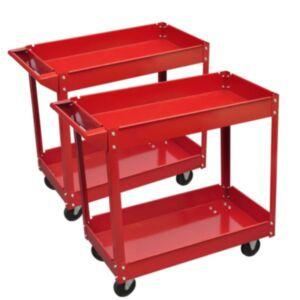 Tööriistakäru punane kaks riiulit 2tk
