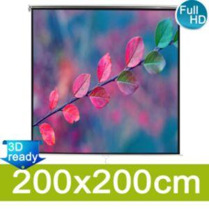Pood24 Manuaalne projektsiooniekraan 200x200 cm, mattvalge