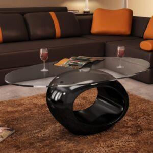 Pood24 ovaalse klaasist plaadiga kohvilaud, kõrgläikega must