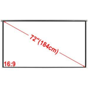 Manuaalne projektoriekraan 160 x 90 cm matt valge 16:9 kinnitustega
