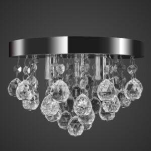 Elegantne kristallidega lühter kroomitud raamiga