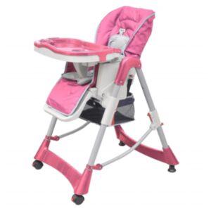 Pood24 beebi söögitool, roosa, reguleeritav kõrgus