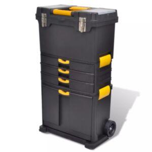 Suur ratastega tööriistakast hall/kollane