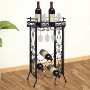 Pood24 klaasikonksudega veiniriiul 9 pudelile, metallist