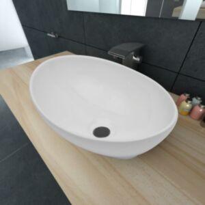 Luksuslik keraamiline valamu, ovaalne, valge, 40 x 33 cm