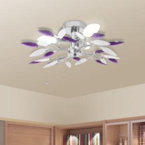 Valge ja lilla akrüülkristallist laelamp kuplitega 3 tk