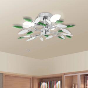 Valge ja roheline akrüülkristallist laelamp kuplitega 3 tk