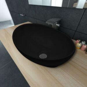 Luksuslik keraamiline kraanikauss ovaalsekujuga must 40 x 33 cm
