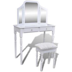 Pood24 peegli ja pingiga kolm ühes tualettlaud, 2 sahtlit, valge