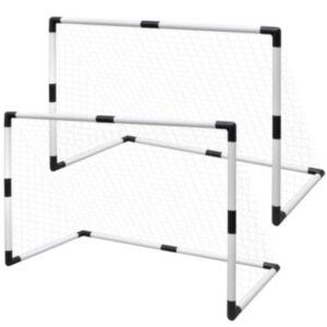 Mini jalgpallivärav postide ja võrguga 2 tk lastele 91,5 x 48 x 61 cm