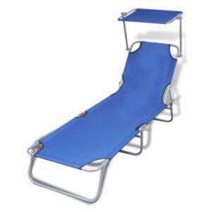 Pood24 kokkupandav lamamistool varikatusega, teras ja kangas, sinine