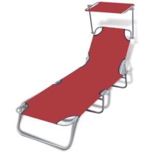 Pood24 kokkupandav lamamistool varikatusega, teras ja kangas, punane