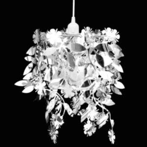 Rippuv dekoratiivne lühter helmestega 21,5 x 30 cm, hõbedane
