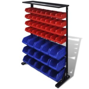 Tööriistade riiul garaaži sinine ja punane