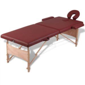 Punane kokkupandav massaažilaud puitraamiga 2-tsooniline