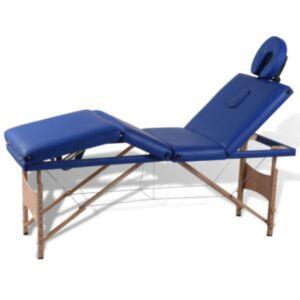Sinine kokkuklapitav massaažilaud puidust raamiga
