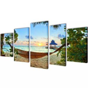 Seinamaalikomplekt lõuendil võrkkiigega rannas, 100 x 50 cm