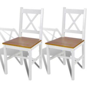 Pood24i söögitoolid 2 tk puidust, valge ja naturaalset värvi