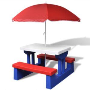 Pood24i laste piknikulaud päikesevarjuga