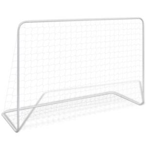 Pood24 jalgpallivärav võrguga, 182 x 61 x 122 cm, teras, valge