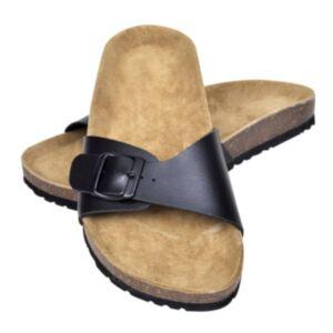 Korktallaga sandaalid 1 rihmaga mõlemale soole, suurus 36 must