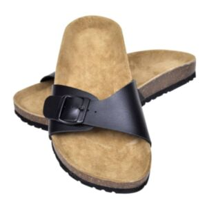 Korktallaga sandaalid 1 rihmaga mõlemale soole suurus 41 must